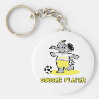 Soccer Player Elephant Basic Round Button Keychain