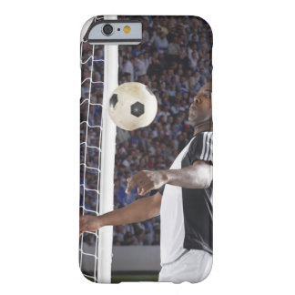 Soccer player facing mid air ball in goal mouth barely there iPhone 6 case