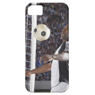 Soccer player facing mid air ball in goal mouth iPhone 5 cover