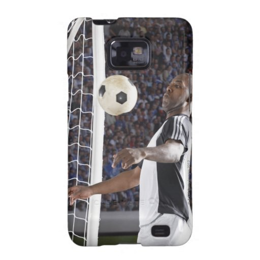 Soccer player facing mid air ball in goal mouth galaxy s2 case