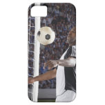 Soccer player facing mid air ball in goal mouth iPhone SE/5/5s case