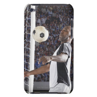 Soccer player facing mid air ball in goal mouth iPod Case-Mate case