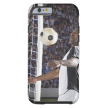 Soccer player facing mid air ball in goal mouth tough iPhone 6 case