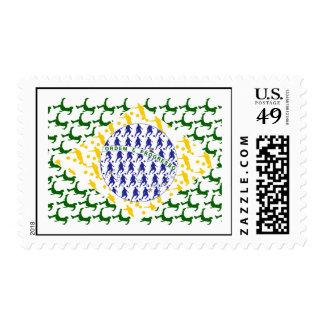 Soccer player Futebol team flag of brazil art gift Postage