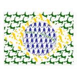 Soccer player Futebol team flag of brazil art gift Postcard