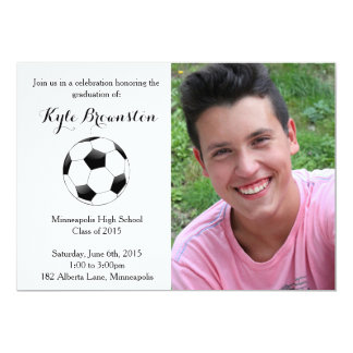Soccer Player Graduation Party Photo Invite