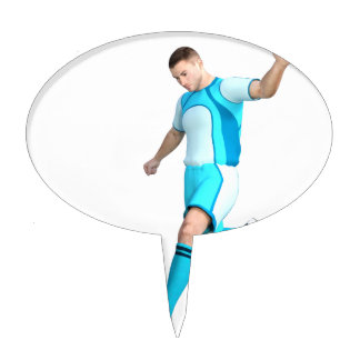 Soccer Player in Aqua and White Cake Topper