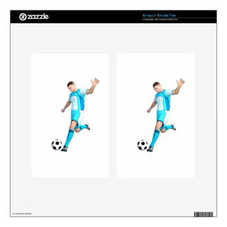 Soccer Player in Aqua and White Kindle Fire Decals