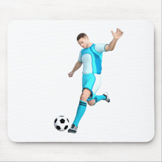 Soccer Player in Aqua and White Mouse Pad