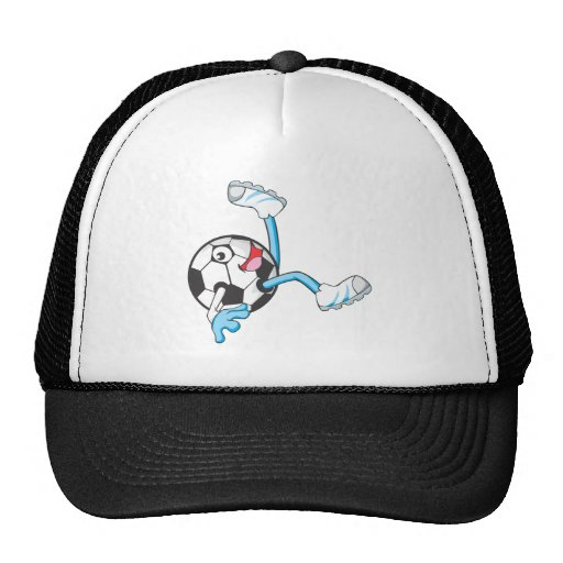 Soccer Player in Bicycle Kick Pose Mesh Hats
