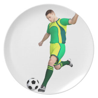 Soccer Player in Green and Yellow Plate