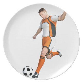 Soccer Player in Orange,Black,and White Melamine Plate