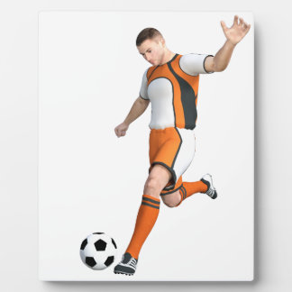 Soccer Player in Orange,Black,and White Plaque