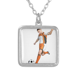 Soccer Player in Orange,Black,and White Silver Plated Necklace