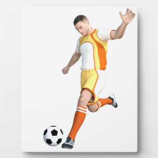 Soccer Player in Orange,Yellow,and White Plaque