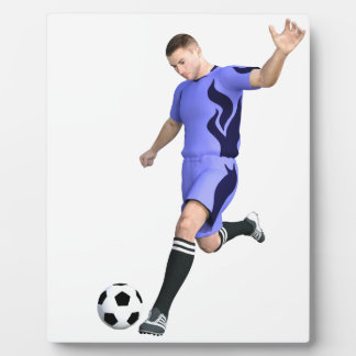 Soccer Player in Purple and White Plaque