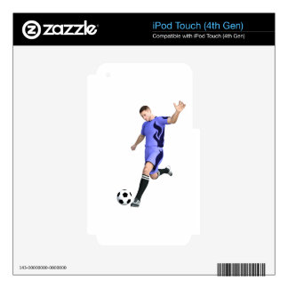 Soccer Player in Purple and White Skin For iPod Touch 4G