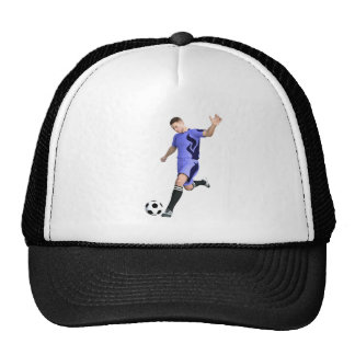 Soccer Player in Purple and White Trucker Hat