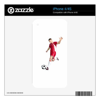Soccer Player in Red and White Decals For iPhone 4S