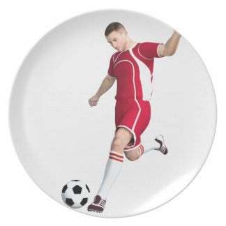 Soccer Player in Red and White Dinner Plate