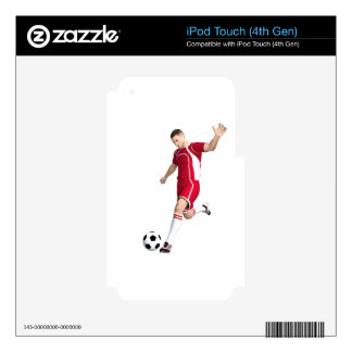 Soccer Player in Red and White iPod Touch 4G Skin