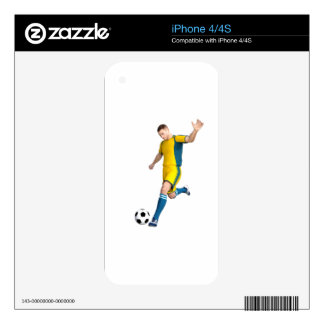 Soccer Player in Yellow and Aqua Decal For iPhone 4