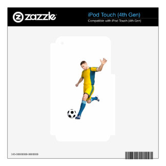 Soccer Player in Yellow and Aqua Skins For iPod Touch 4G