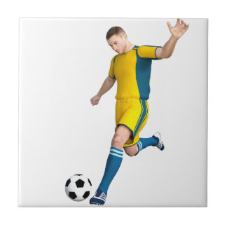 Soccer Player in Yellow and Aqua Tile