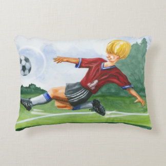 Soccer Player Kicking a Ball by Jay Throckmorton Decorative Pillow