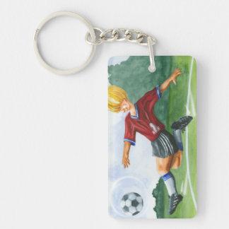 Soccer Player Kicking a Ball by Jay Throckmorton Rectangle Acrylic Key Chains