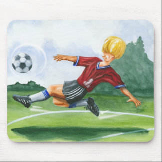 Soccer Player Kicking a Ball by Jay Throckmorton Mouse Pad