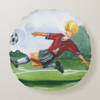 Soccer Player Kicking a Ball by Jay Throckmorton Round Pillow