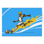 Soccer player kicking a soccer ball greeting cards