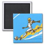 Soccer player kicking a soccer ball refrigerator magnet