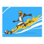 Soccer player kicking a soccer ball post card