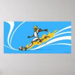 Soccer player kicking a soccer ball print