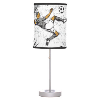 Soccer Player Kicking Ball Table Lamps
