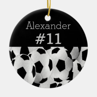Soccer Player Name Jersey Number Customize Colors Double-Sided Ceramic Round Christmas Ornament