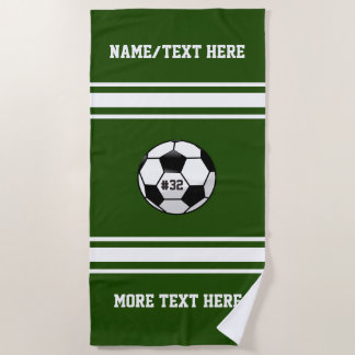 Soccer Player Name Number Team Name Custom Beach Towel