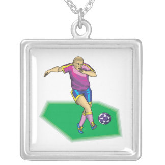 Soccer Player Square Pendant Necklace