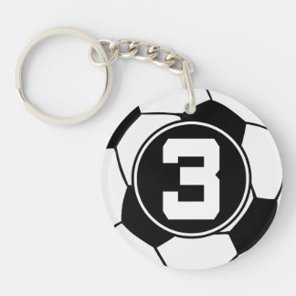 Soccer Player Number 3 Sports Ball Gift Keychain