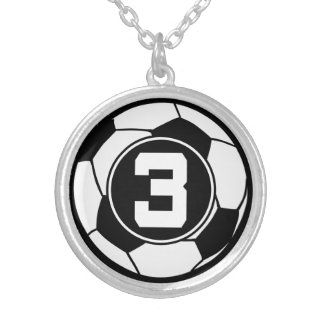 Soccer Player Number 3 Sports Ball Jewelry