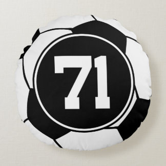 Soccer Player Number 71 Sports Ball Gift Round Pillow