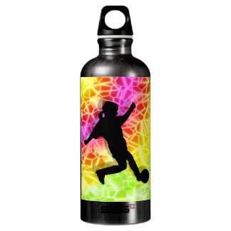 Soccer Player on Fluorescent Mosaic Aluminum Water Bottle