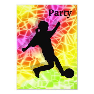 Soccer Player on Fluorescent Mosaic Invite