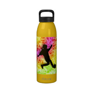 Soccer Player on Fluorescent Mosaic Reusable Water Bottle