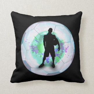 Soccer Player Posing with Ball Soccer  in a Ball Throw Pillow