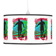 Soccer Player Radical Rainbow ANY COLOR BACKGRND Hanging Pendant Lamp