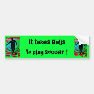 Soccer Player & Radical Rainbow Car Bumper Sticker