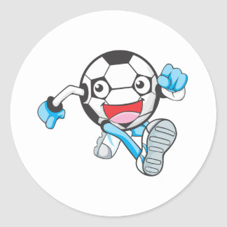 Soccer Player Running Classic Round Sticker